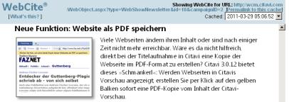 Meldung aus dem Citavi-Newsletter als Kopie bei WebCite (vgl. Link im Artikel)